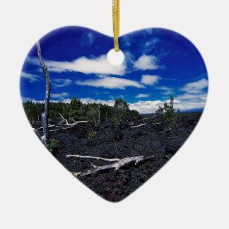 Cadena del cielo de cráteres adorno navideño de cerámica en forma de corazón