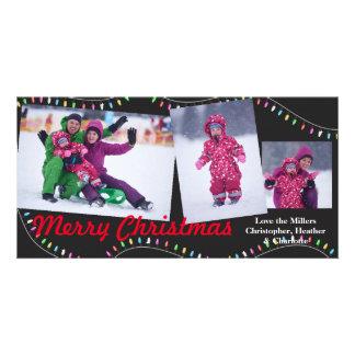 Cadena del navidad de luces - navidad Photocard Tarjeta