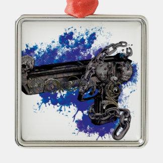 Cadena esquelética de la pistola del revólver de adorno navideño cuadrado de metal