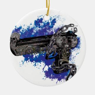 Cadena esquelética de la pistola del revólver de adorno navideño redondo de cerámica