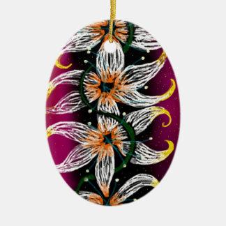 Cadena floral adorno navideño ovalado de cerámica