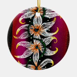 Cadena floral adorno navideño redondo de cerámica