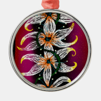 Cadena floral adorno navideño redondo de metal