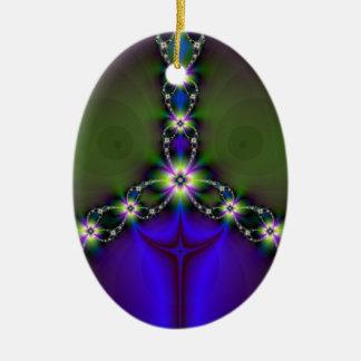 Cadena floral del fractal adorno navideño ovalado de cerámica