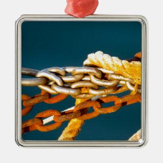 Cadena oxidada adorno navideño cuadrado de metal