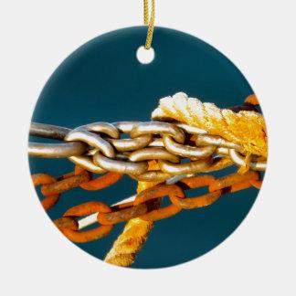 Cadena oxidada adorno navideño redondo de cerámica