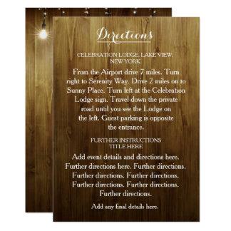 Cadena rústica de luces que casan la tarjeta de invitación 12,7 x 17,8 cm