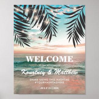 Cadena tropical del boda de playa el   de luces póster