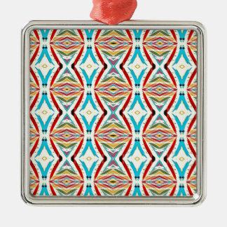 Cadenas abstractas multicoloras. Modelo geométrico Adorno Navideño Cuadrado De Metal