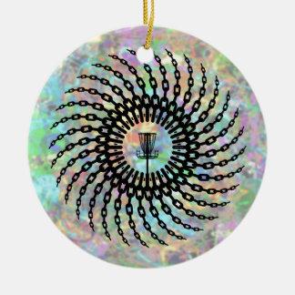 Cadenas de la cesta del golf del disco adorno navideño redondo de cerámica