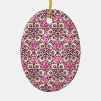 Cadenas de margaritas adorno ovalado de cerámica