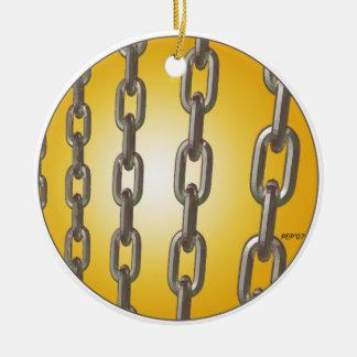Cadenas del oro adorno navideño redondo de cerámica