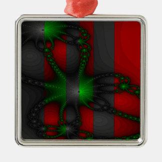 Cadenas verdes y grises adorno navideño cuadrado de metal