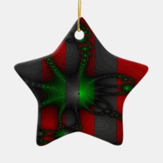 Cadenas verdes y grises vibrantes adorno navideño de cerámica en forma de estrella