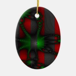Cadenas verdes y grises vibrantes adorno navideño ovalado de cerámica