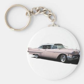 Cadillac rosado llavero redondo tipo chapa