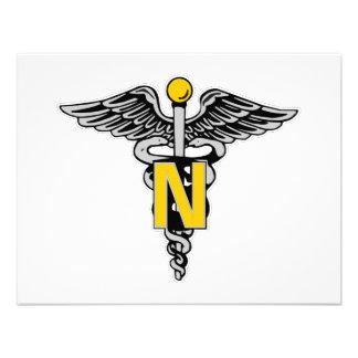 Caduceo de la enfermera invitación personalizada