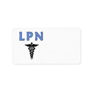 Caduceo de la enfermera LPN Etiquetas De Dirección