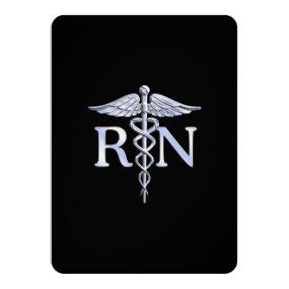 Caduceo de plata del RN de la enfermera Invitación 11,4 X 15,8 Cm