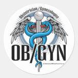 Caduceo del azul de OB/GYN Etiquetas Redondas