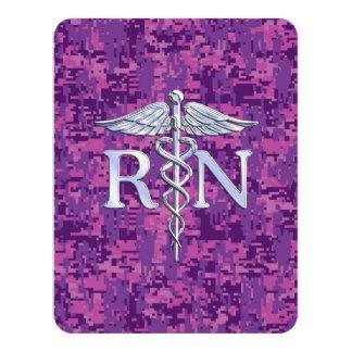 Caduceo del RN de la enfermera registradoa en Camo Invitación 10,8 X 13,9 Cm