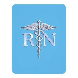Caduceo del RN de la enfermera registradoa en Invitación 10,8 X 13,9 Cm