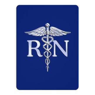Caduceo del RN de la enfermera registradoa en Invitación 13,9 X 19,0 Cm