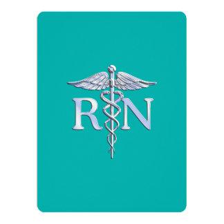 Caduceo del RN de la enfermera registradoa en la Invitación 16,5 X 22,2 Cm