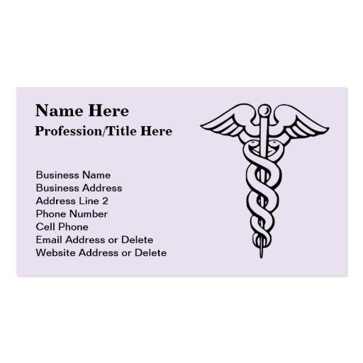 Caduceo del símbolo de la profesión médica plantilla de tarjeta de visita