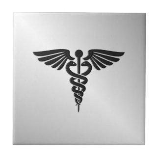Caduceo médico de plata azulejo cuadrado pequeño