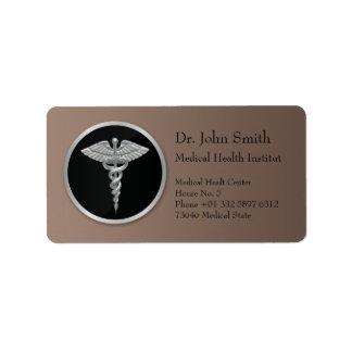 Caduceo médico de plata - etiqueta de dirección
