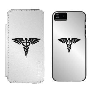 Caduceo médico de plata funda cartera para iPhone 5 watson