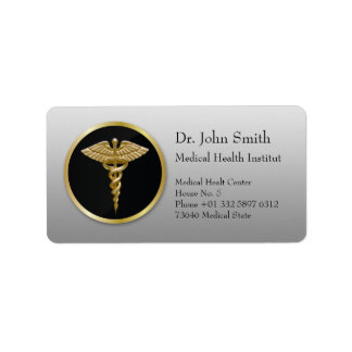 Caduceo médico del oro - etiqueta de dirección