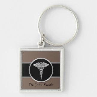 Caduceo médico profesional de plata - llavero