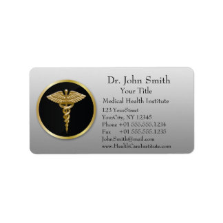 Caduceo médico profesional del oro - etiqueta de
