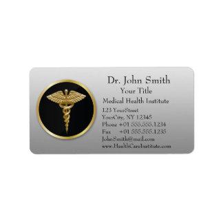 Caduceo médico profesional del oro - etiqueta de etiquetas de dirección