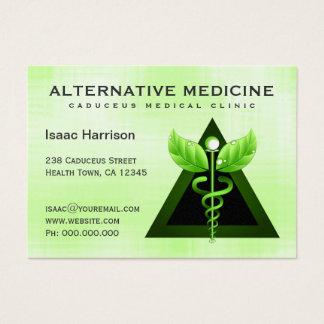 Caduceo verde claro de la medicina alternativa tarjeta de negocios