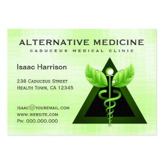 Caduceo verde claro de la medicina alternativa tarjetas de visita grandes