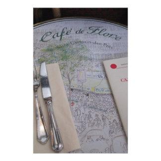 Cafe de Flore, París, Francia - cubierto, menú Papelería Personalizada