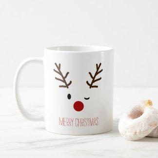Café de guiño lindo del navidad del reno de Rudolf Taza De Café