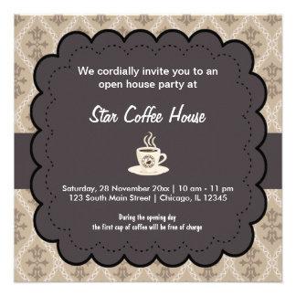 Café de la gran inauguración comunicados personalizados