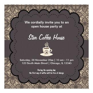Café de la gran inauguración invitación personalizada