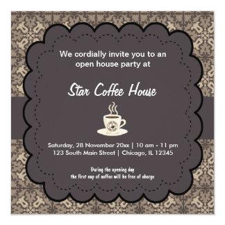 Café de la gran inauguración invitación 13,3 cm x 13,3cm