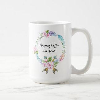 Café de la mañana y taza de la obra clásica de