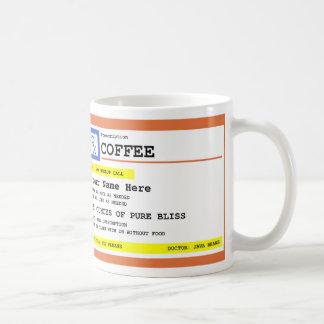 Café de la prescripción personalizado taza de café