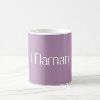"Café de ""Maman""/taza del té Taza Básica Blanca"