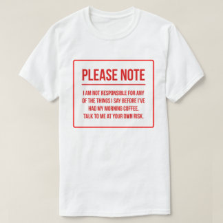 Café divertido de la negación de la camiseta