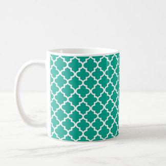 Café elegante geométrico de la teja marroquí azul  taza