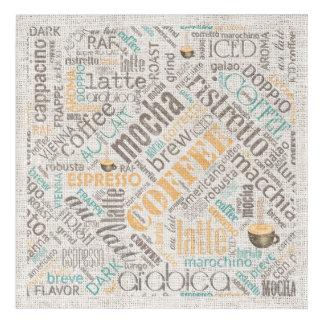 Café en el trullo ID283 de la nube de la palabra Impresión Acrílica