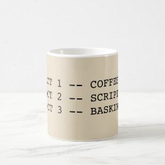 Café - escrituras - taza que toma el sol